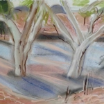 dry riverbed - pastel & conte on A4 cartridge paper