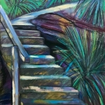Parsley Bay stairs - looking up  - pastel on Canson paper