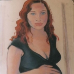 Caitlin with Darcy pastel on paper
