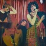 Lily Dior, Vlad Shvetsov, Phil Stack at La Bar, 1999(Oil/Canvas)