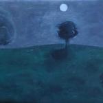 full moon setting 3am - oil/canvas
